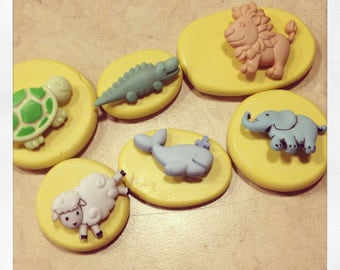 Baby Animals set lion Lamb Alligator whale Turtule Silicone