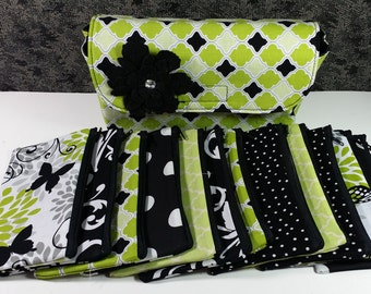 Cash Envelope Wallet JUMBO size, 8 to 15 Cash Envelopes & Pouch -Lime Diamonds- (It can be used with the Dave Ramsey system)