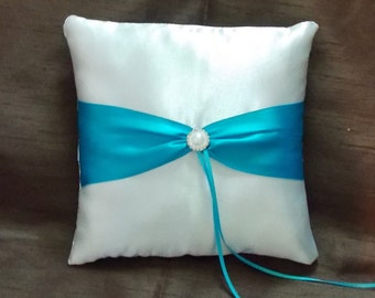 ring bearer pillow white and terquise blue satin