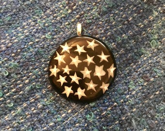 Millefiori Stars fused glass pendant