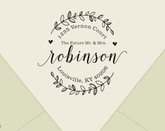 The Future Mr and Mrs -Custom Return Address Stamp -calligraphy stamp-Custom Save the Date Stamp, Wedding Stamp with Wreath-