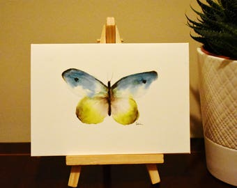 Blue Butterfly Original Watercolor painting card A6