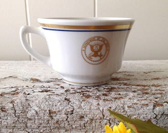 Shenango China US Navy Rim Rol Wel Roc Coffee Cup, Fouled Anchor, Gold Trim, Vintage US Military Diner China Collectors Cup, Mug