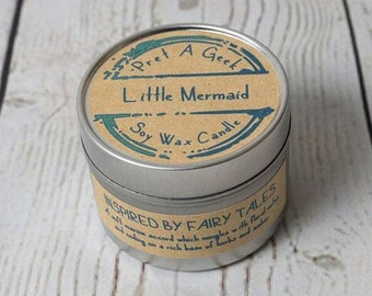 Little Mermaid Soy Wax Candle // Book Candles // Fandom Candle  // Little Mermaid // Inspired by the Fairy Tale // 4oz