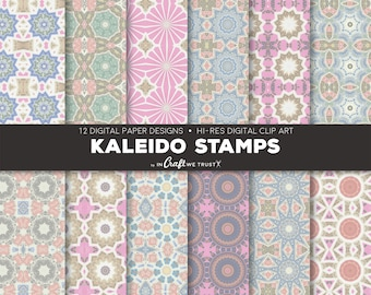 """Kaleido Stamps Digital Papers • 12 Hi-Res Print Designs • 12"""" x 12"""" Backgrounds• Commercial & Personal Use • Instant Art Downloads"""