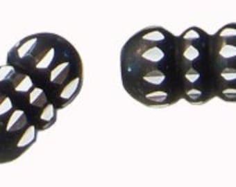6pc - 15mm JET BLACK Diamond Cut Design Barrel Metal Spacer Beads