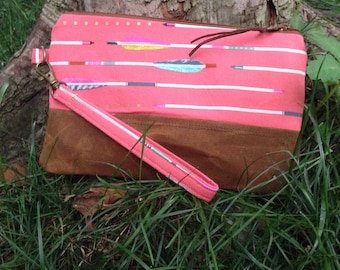 Pink Arrow Print Canvas Clutch / Handmade Cotton and Waxed Canvas Wristlet / Tobacco Brown Waxed Canvas, Arrow Print Cotton
