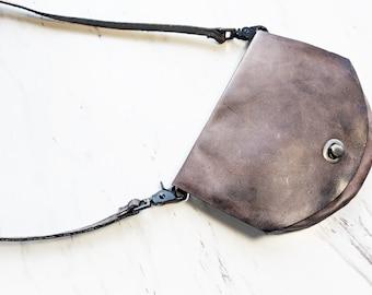 Leather Crossbody Bag / Belt bag / Black bag / Clutch