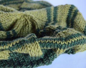 Green Striped Beret - Thin Stripes