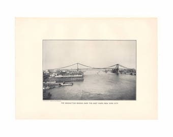 The Manhattan Bridge Over The East River - antique print from 1910 yearbook - Free US Shipping