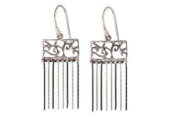 Filigree Earrings, Oxidized Silver Dangle Earrings, Arabesque Earrings, Black Silver Earrings.