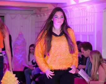 MKDK Yellow Fluffy V-Neck Sweater