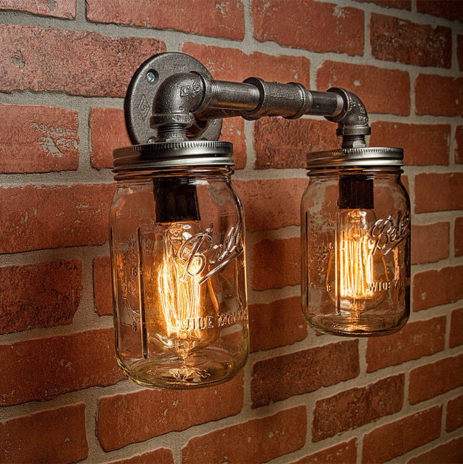 industrial chandelier lighting. Farmhouse Lighting - Mason Jar Light Steampunk Bar Industrial Chandelier Wall FREE SHIPPING