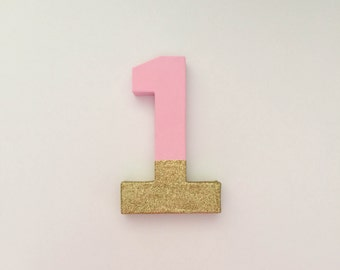 SALE 8 Inch Light Pink and Gold Glitter Dipped Number 1 First Birthday Photo Prop, Pink and Gold First Birthday Photo Prop, Cardboard Number