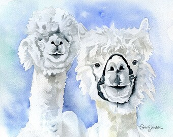 Alpacas Watercolor Giclee Print 14 x 11 Reproduction - Fine Art