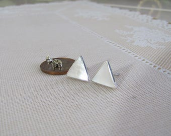 Triangle Mother of Pearl Sterling Silver Earrings, gift for modernist