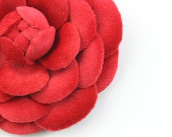 Red velvet camellia flower brooch, cotton jewelry, fabric flower, fabric camellia, cotton anniversary gift for her