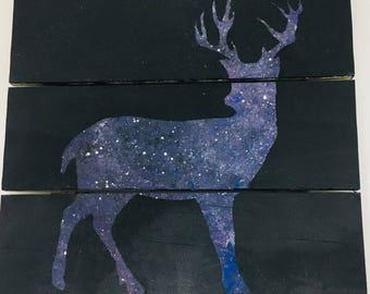 Rustic Celestial Stag Deer Space Galaxy Painting Wall Art