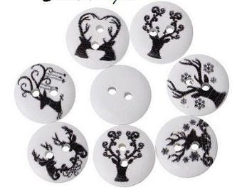 12 buttons 15 mm wooden deer