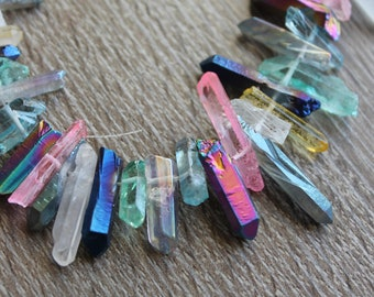 Electroplated Natural Quartz Points Polished Crystal Points Sticks Graduated Quartz Crystals Beads Top Drilled Gemstone