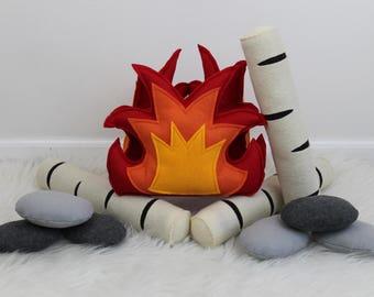 Felt Campfire, Campfire Playset, Pretend Fire Pit, Felt Fire, Toy Campfire, Light Up Fire, Birch Logs, Rocks, Teepee Play, Tents, Camping