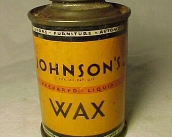 c1930s Johnson Prepared Liquid Wax S. C. Johnson & Son Inc. Racine Wis., Vintage Advertising Tin Can, Country Primitive Decor