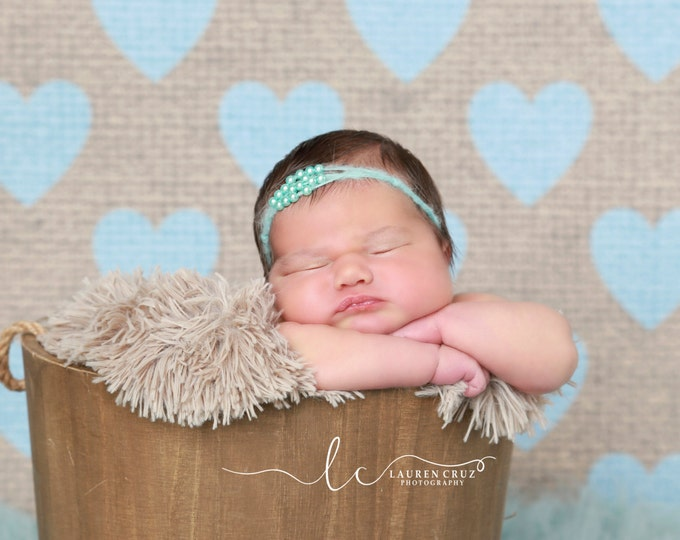 Turquoise Mohair Pearl Tieback, for newborns, photo shoots, newborn photographers, baby photo, baby girls by Lil Miss Sweet Pea
