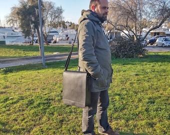 iPad Pro Leather Bag, Vertical Messenger Bag. LARGE SIZE Universal Tablet Case. Shoulder / Crossbody Bag. Black Leather, Handmade in Greece.