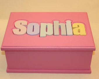 Wood Name Puzzle Treasure Box. Personalized. Keepsake. Kids. Gifts. Baby Shower
