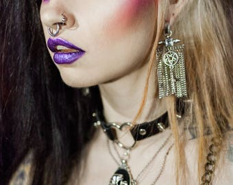 Crucifix 666 666 silver chains earrings