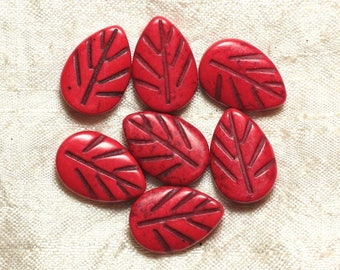 10pc - beads Turquoise synthetic - 20 mm red 4558550033604 leaves