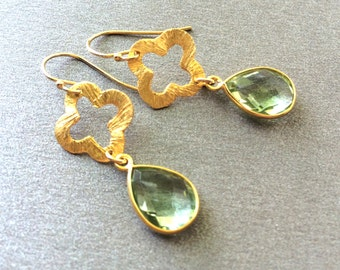Green Amethyst Quadrafoil Gold Earrings, Light Green Drop Earrings, Clover Green