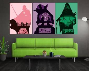 Minimalist Star Wars Poster Set Star Wars Trilogy Poster Set Star Wars Minimalist Poster Star Wars Art Star Wars Wall Art Star Wars Print