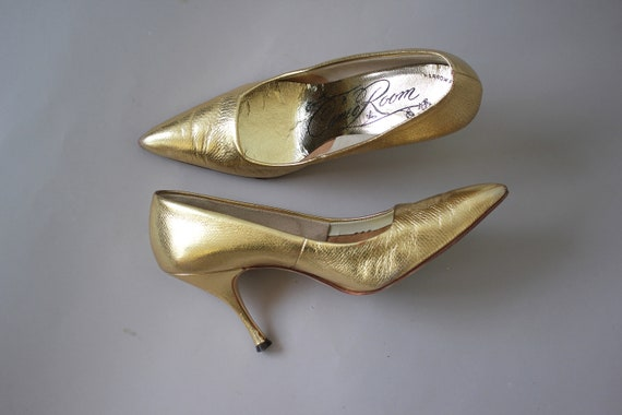 metallic heels pumps 7 5 60s toe gold 1960s 60s pumps pointy 60s 60s 60s shoes warm heels heels leather stiletto vintage gold X0wpCx8qq