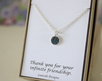 Tiny Green Druzy Necklace, Crystal Necklace, Thin Druzy Pendant, Sterling Silver, Green Pendant, Natural, Natural Stone