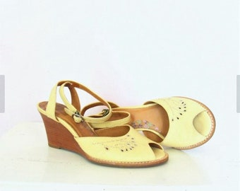 Vintage Leather Pale Yellow Wedge Sandals / Ankle Strap Wedge / Cut Out Design / size UK 4 1/2