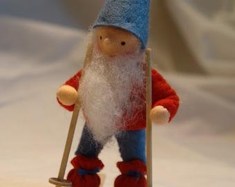 Ski Gnome - Winter - Flower Child - Waldorf  Inspired