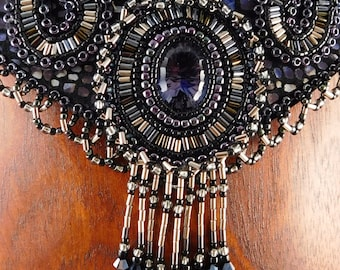 Dark Steel Blue Mystic Fire Topaz, Sterling Silver and Beadwork Necklace