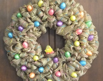 Easter Wreath with Easter Eggs and a Chick in a Nest surrounded with Easter Eggs Easter Deco Mesh Wreath