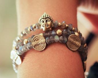Labradorite Bracelet // Bangles Bracelet // Buddha Bracelet // Multi Strand Bracelet // Labradorite Hand Bracelet // Multistrand Bracelet