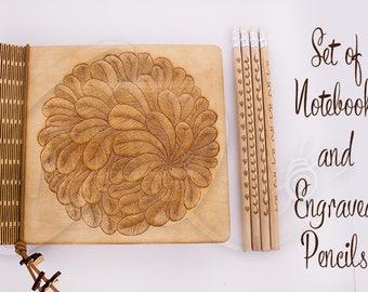 Dahlia magique contreplaqué naturel cahier et crayons gravés 4 ensemble