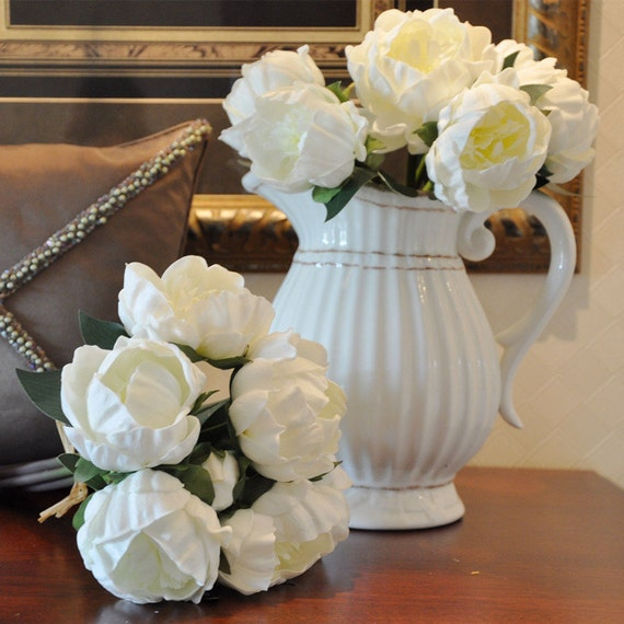 Real touch flower bouquet white peony bouquet pu latex like this item mightylinksfo Image collections