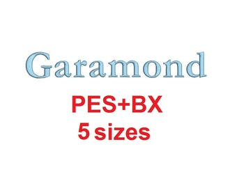 """Garamond embroidery font formats bx (which converts to 17 machine formats), + pes, Sizes 0.25 (1/4), 0.50 (1/2), 1, 1.5 and 2"""""""
