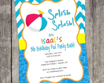 Beach Ball Pool Party Invitation Customized for your Birthday Party