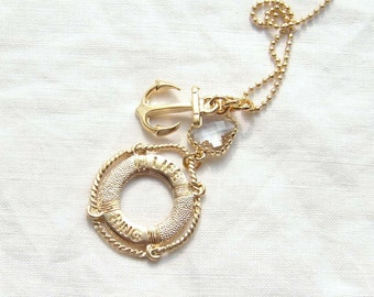 Nautical Necklace with a Gold Anchor and a Life Ring. Simple Modern Jewelry by Smallbluethings ~ Valentine's Day