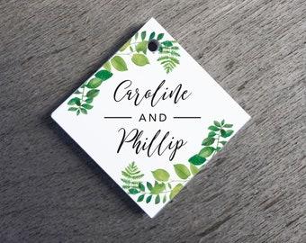 Greenery Wedding Favor Tags Watercolor Wedding Tags Die-cut Paper Hang Tags Custom Gift Tags Greenery Wedding Square Gift Tags Welcome Tags