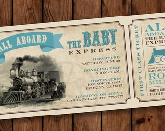 Train baby shower invitation train ticket baby shower baby boarding pass invitation shower invitation ticket train invitation train baby shower invite filmwisefo Image collections