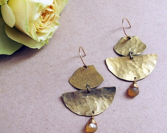 Vista Earrings - Brass and Chalcedony Earrings - Empowering Jewelry - Caramel, Brown, Butterscotch Brass Earrings