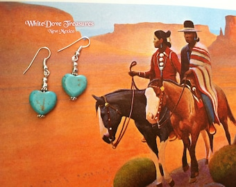 Turquoise Heart Earrings ~ Southwestern Santa Fe Native Style ~ Wedding Sale Price ~ Girlfriend Gift