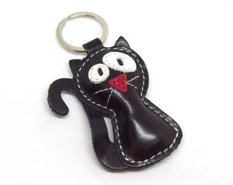 Handmade Black Cat Leather Animal Keychain - FREE Shipping Worldwide - Black Cat Bag Charm, Crazy Cat Lover Gift, Cat Accessories, Cat Lover